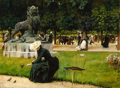 Luxembourg Painting - In The Luxembourg Garden by Charles Courtney Curran