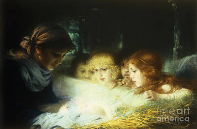 Christmas Greeting Painting - In The Manger by Hugo Havenith
