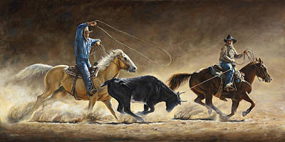 Roping Horse Painting - In The Money by Kim Lockman
