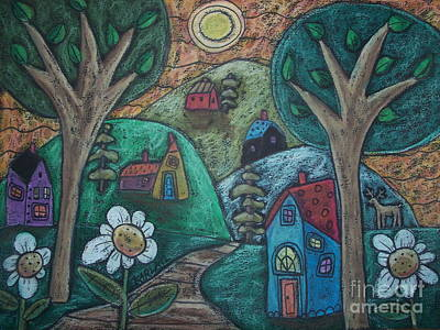 Folk Art Painting - In The Mountains by Karla Gerard