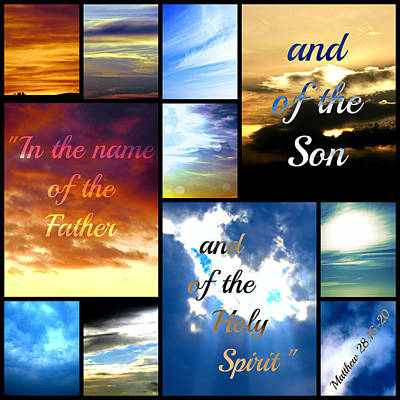 In The Name Of The Father Son Holy Spirit Art Print by Sharon Soberon