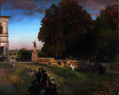 Borghese Painting - In The Park Of The Villa Borghese by Oswald Achenbach