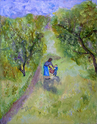 Painting - In The Pear Orchard by Aleezah Selinger