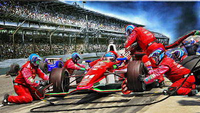 Indy Car Digital Art - In The Pits  by Tom Sachse