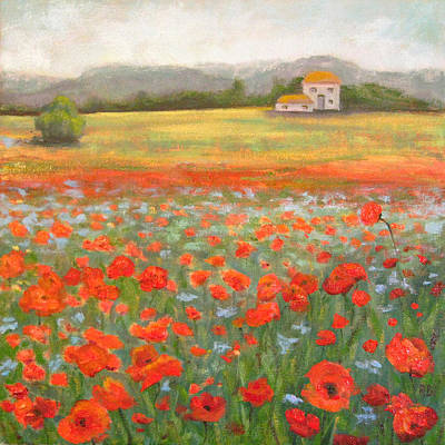 Painting - In The Poppy Field by Robie Benve