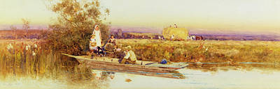 Boats In Water Painting - In The Punt by Thomas James Lloyd