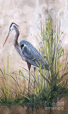 In The Reeds-blue Heron-b Original