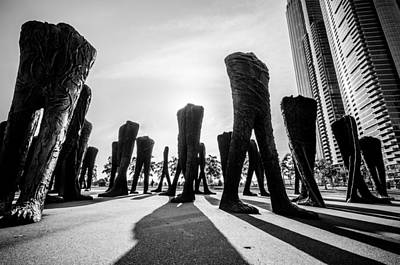 Photograph - In The Shadow Of The Agora Sculpture In Black And White by Anthony Doudt