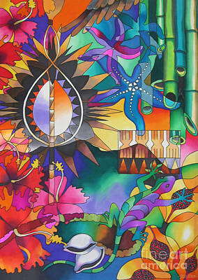 Contemporary Tribal Art Painting - In The Shadows Of Sleeping Giant Mountain Iv by Maria Rova