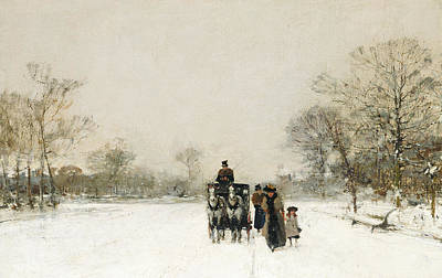 Winter In The Country Painting - In The Snow by Luigi Loir