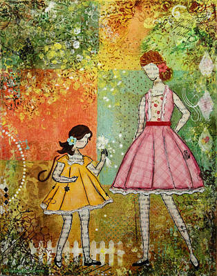 In The Springtime Unique Mixed Media Folk Art Of Children Original