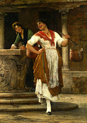 In The Square Art Print by Eugene de Blaas