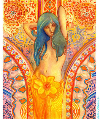Tantra Painting - In The Sunshine Of Her Love by Pearl  Whitecrow
