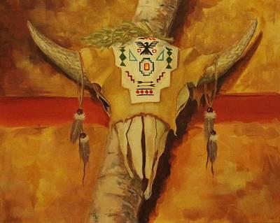 Native American Thunderbird Art Painting - In The Tee Pee by Kathy Kucia