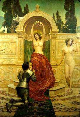 In The Venusberg Tannhauser Print by John Collier
