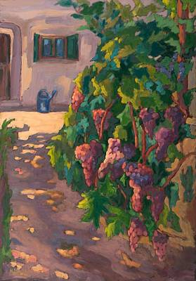 Bunch Of Grapes Photograph - In The Vineyard, 2011 Oil On Board by Marta Martonfi-Benke
