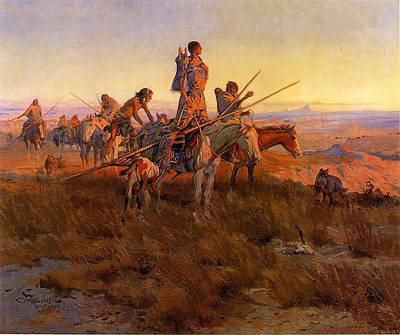In The Wake Of The Buffalo Hunters Art Print by Charles Russell