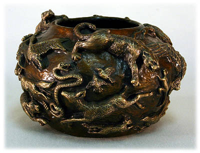 Sculpture - In The Wild - Bronze Bowl With Mountain Lion by Dawn Senior-Trask