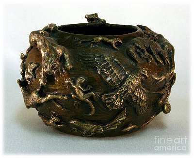 In The Wild - Bronze Wildlife Bowl With Mountain Lion Art Print