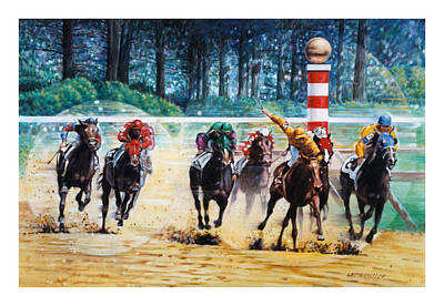 Horserace Painting - In The Winner's Circle by John Lautermilch