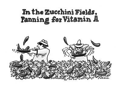 Zucchini Drawing - In The Zucchini Fields by J.P. Rini