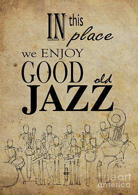 Musicians Drawings - In this place we enjoy good old jazz by Drawspots Illustrations