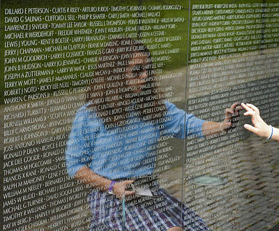 Vietnam Veterans Memorial Wall Photograph - In Touch With The Past by Christi Kraft