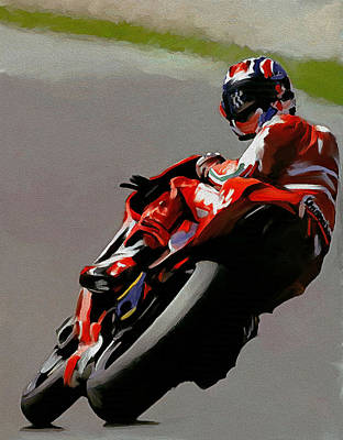 Collectible Art Painting - In Victory  Casey Stoner by Iconic Images Art Gallery David Pucciarelli