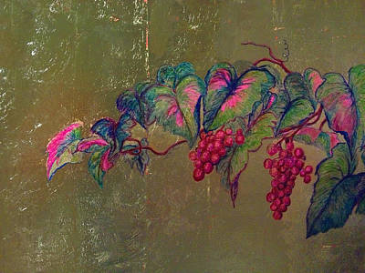 Grape Leaf Mixed Media - In Vino Veritas by Buddy Parrent