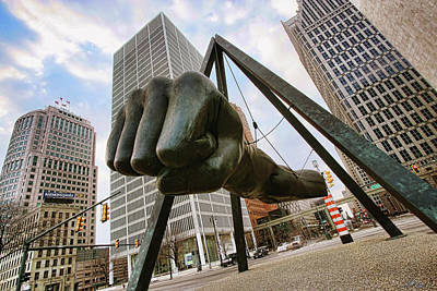 Your Digital Art - In Your Face -  Joe Louis Fist Statue - Detroit Michigan by Gordon Dean II