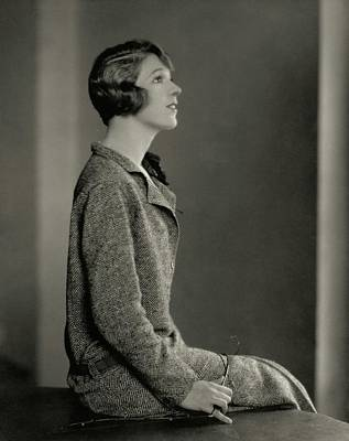 Ina Photograph - Ina Claire Wearing A Tweed Dress by Edward Steichen