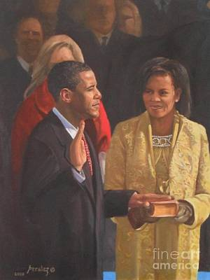 Barack Obama Oil Painting - Inauguration Of Barack Obama by Noe Peralez