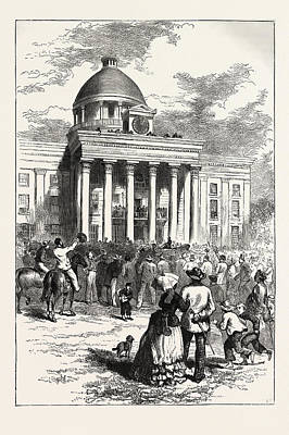 Inauguration Drawing - Inauguration Of Jefferson Davis by American School