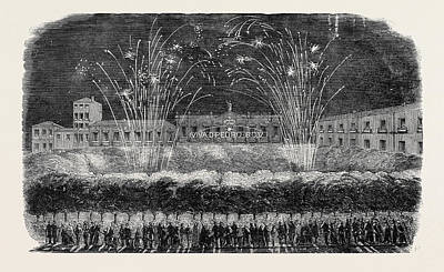 Fireworks Drawing - Inauguration Of The King Of Portugal by Portuguese School