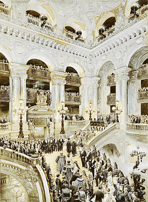 Inauguration Of The Paris Opera House, 5th January 1875, 1878 Wc & White On Paper Art Print by Jean-Baptiste Edouard Detaille