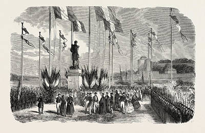 Inauguration Drawing - Inauguration Of The Statue Of Admiral Le Ray by English School
