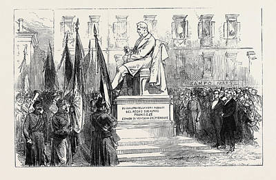 Inauguration Of The Statue Of Paleocapa At Turin 1871 Art Print by English School