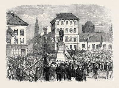 Inauguration Drawing - Inauguration Of The Statue Of Teniers At Antwerp Belgium by Belgian School