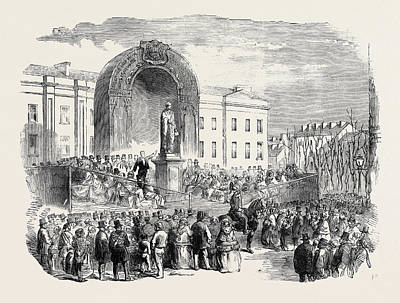 Inauguration Drawing - Inauguration Of The Statue Of The Late Earl Of Belfast by English School