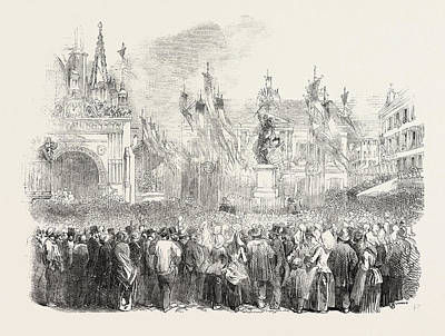 Historic Statue Drawing - Inauguration Of The Statue Of William The Conqueror by English School