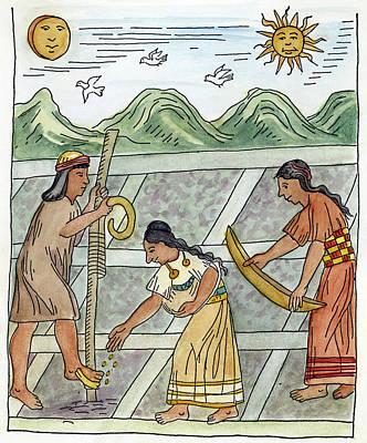 Inca Drawing - Inca Farmers, 1583 by Granger