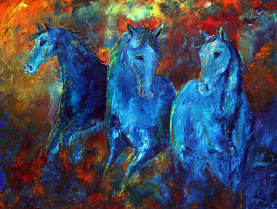 Abstract Horse Painting Blue Equine Art Print