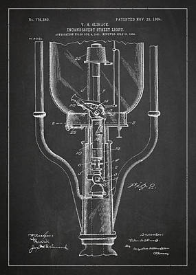 Incandescent Street Light Patent Drawing From 1904 Art Print