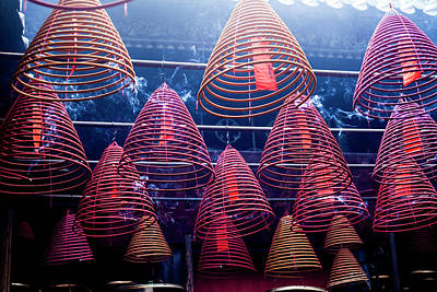 Hong Kong Wall Art - Photograph - Incense Coils In Tin Hau Temple, Yau Ma by Jenny Jones