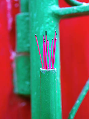 Incense Sticks Outside A Home In Hoi Art Print by David H. Wells