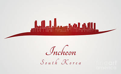 Incheon Skyline In Red Print by Pablo Romero
