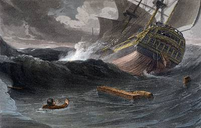 Voyage Drawing - Incident On The Journey From China by Thomas and William Daniell