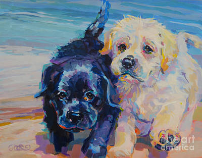 Dog Beach Painting - Incoming by Kimberly Santini