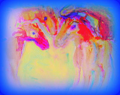 Mental Painting - Horse Family Coming Out Of Blue  by Hilde Widerberg