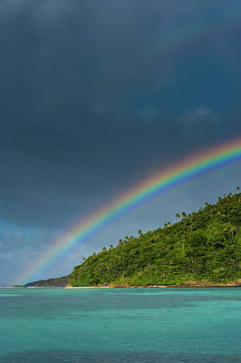 Incredible Rainbow Over An Islet Of Ofu Art Print by Michael Runkel